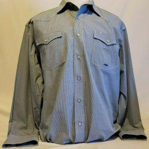 Roper Blue L mens LS shirt Pearl Snap Western